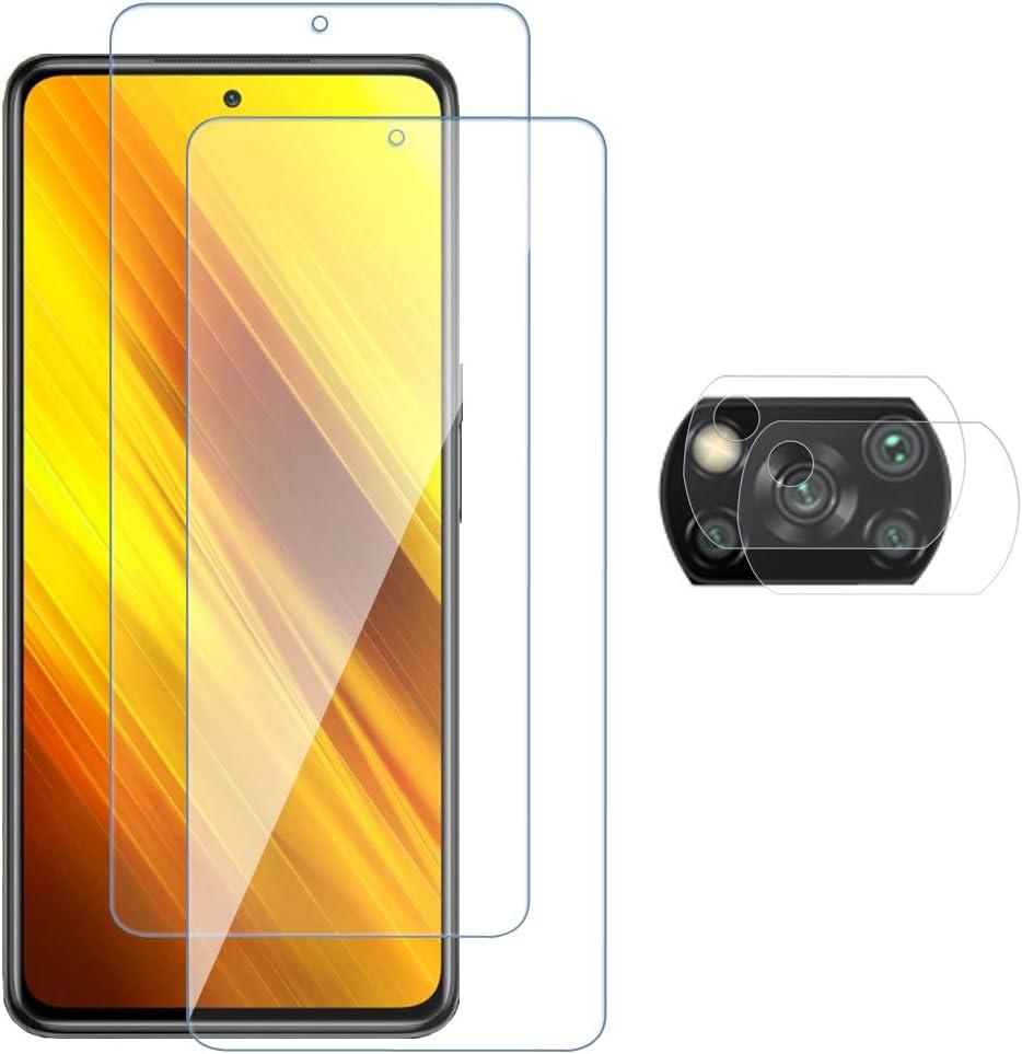 Arabby Protector de Pantalla para Xiaomi Poco X3 NFC Alta Definicion 9H Dureza Anti-caída/Anti-rasguños Cristal Templado Vidrio Templado(2)+Cámara Protector(2) para Xiaomi Poco X3 NFC
