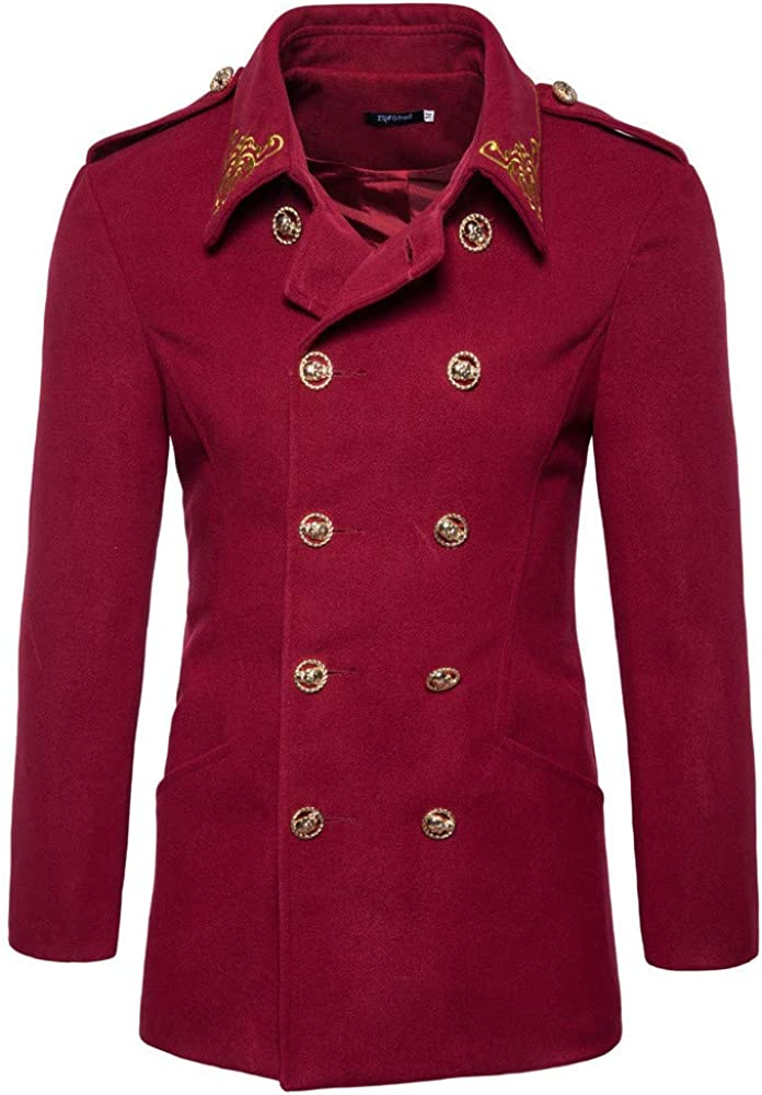 GREFER-Mens Wool Blend Pea Coat Personality Double Breasted Top Coats Slim Fit Mid-Length Jacket Overcoat 2 Pockets Wine Red