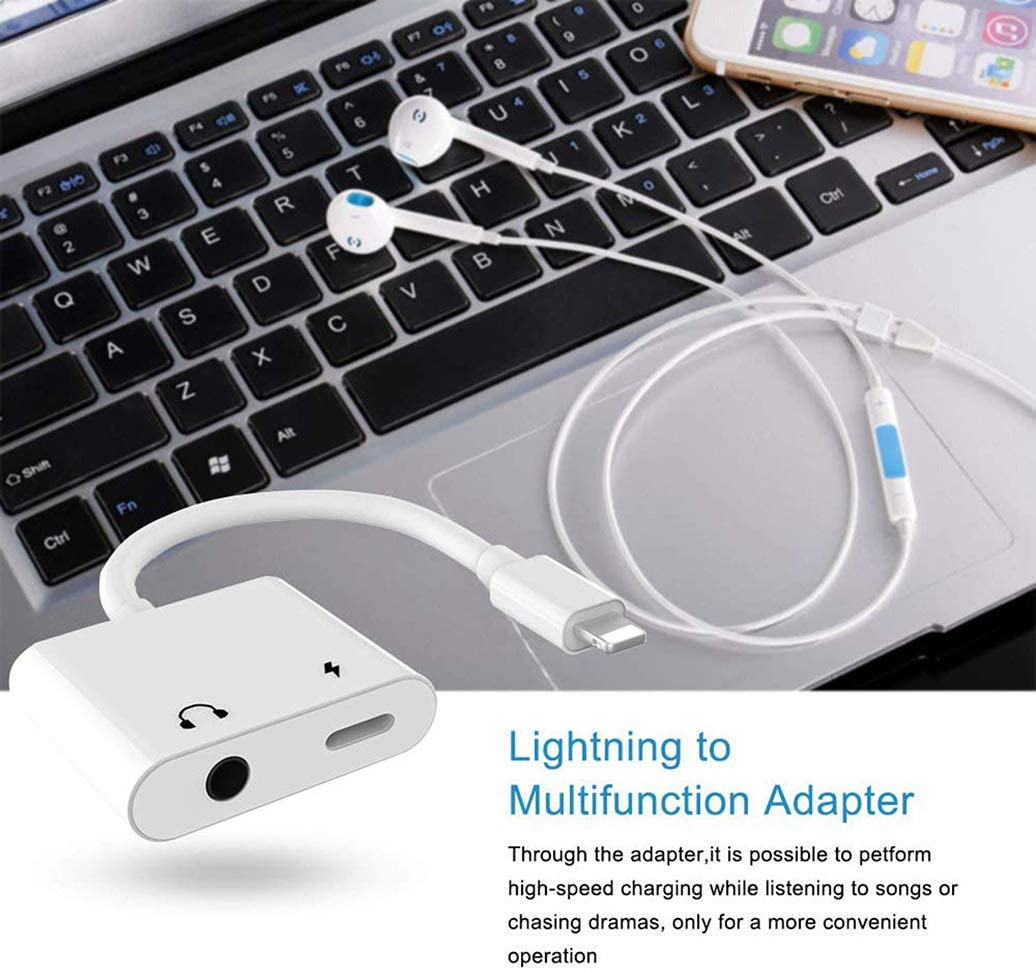 Headphone Adapter for iPhone Charger AUX 3.5 mm Jack Adapter Charger Splitter Compatible with iPhone 12//12pro//12pro max//7//7 Plus//8//8P lus//11//X//XS//XSMAX Dongle Earphone Accessory Connector
