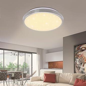 16W Led Deckenleuchte Modern Sternenlicht Deckenlampe Sternenhimmel fur  Schlafzimmer Wohnzimmer Warmweiß Rund Panel Leuchte[Energieklasse A++]