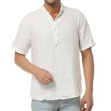 Najia Symbol Herren Beiläufig 100% Leinen Grandad Kragen Kurzarm Henley Hemd  (Weiß, S 26fe566dfd