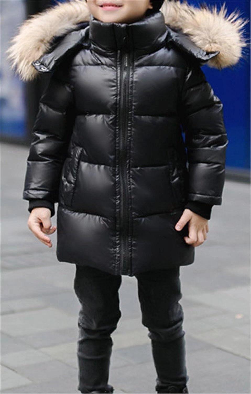 Betusline Unisex Kids Down Puffer Jacket with Fur Hood