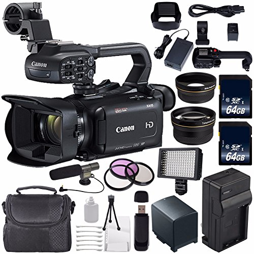 (Canon XA15 Compact Full HD ENG Camcorder #2217C002 + 64GB Memory Card + BP-820 Replacement Lithium Ion Battery Bundle)
