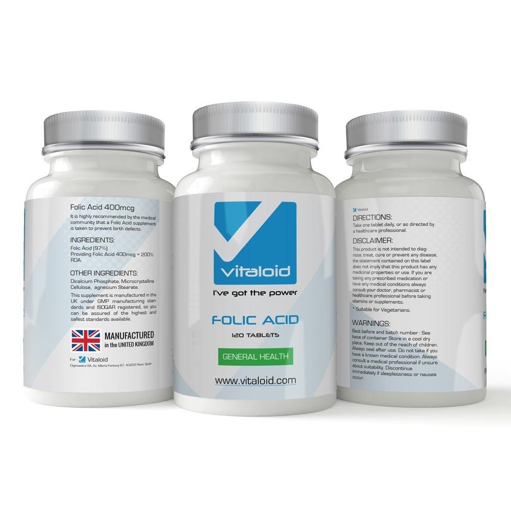 Ácido Fólico Vitaloid - 120 Comprimidos - FABRICADO EN UK - El ácido fólico es Imprescindible durante el embarazo para el control de proteínas y la ...