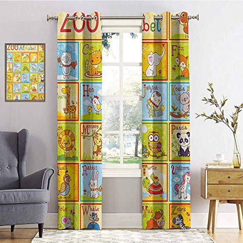 hengshu Educational Shading Insulated Curtain Zoo Alphabet Design Colorful Style Funny Cartoon Animals Children Kids School for Living Room or Bedroom W72 x L84 Inch Multicolor