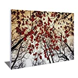 AUBBC Wall Art by Inkjet Printing,Red Maple Leaves Pictures on Canvas Prints Artwork Contemporary for Home Decorations Wall Decor