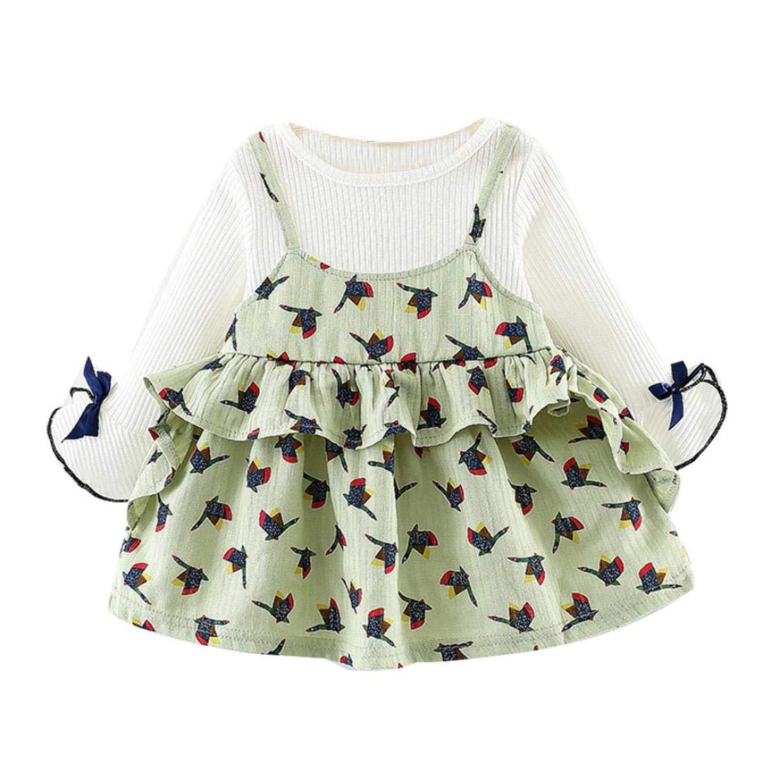 Baby Girl Autumn Cartoon Princess Dress,Jchen(TM) Newborn Infant Baby Girl Long Sleeve Cartoon Print Princess Dress for 0-24 Months (Age: 18-24 Months, Green) by Jchen Girls Dress (Image #1)
