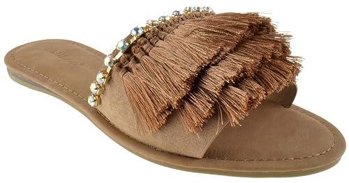 Bliss 63M Womens Rhinestone 3 Layer Fringe Microfiber Suede Sandals  B074PF25GD