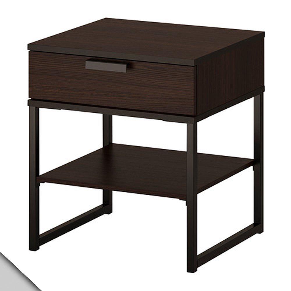 black IKEA dark brown TRYSIL Nightstand