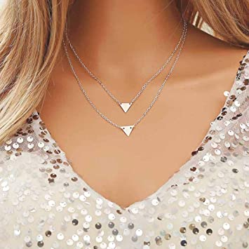 5cacb9153 Fstrend Fashion Symbol Layered Necklace Dainty Triangle Chain Pendant  Necklaces Jewelry for Women and Girls (