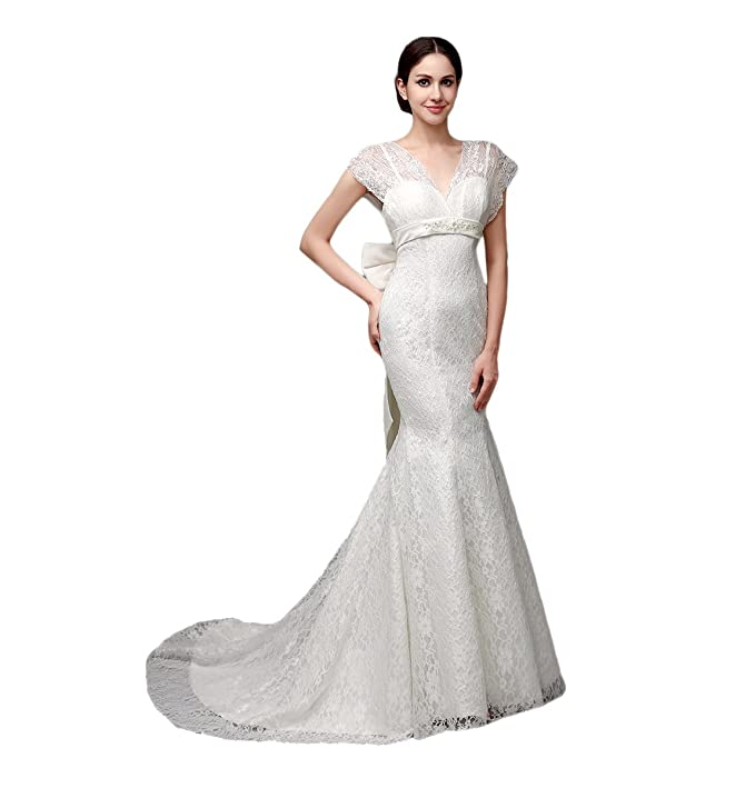 Engerla Mujer Capped Sleeve Encaje Empire Line lazo de sirena vestido de novia: Amazon.es: Ropa y accesorios