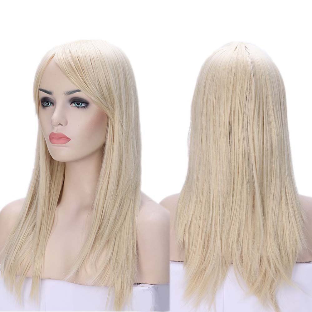 S-noilite 23/19 inch Straight Curly Natural Looking Full Wigs With Bangs and Cap for Women Daily Use Party Fancy Halloween Costume Cosplay wigs Synthetic Hair (23'' Straight, Bleach Blonde)