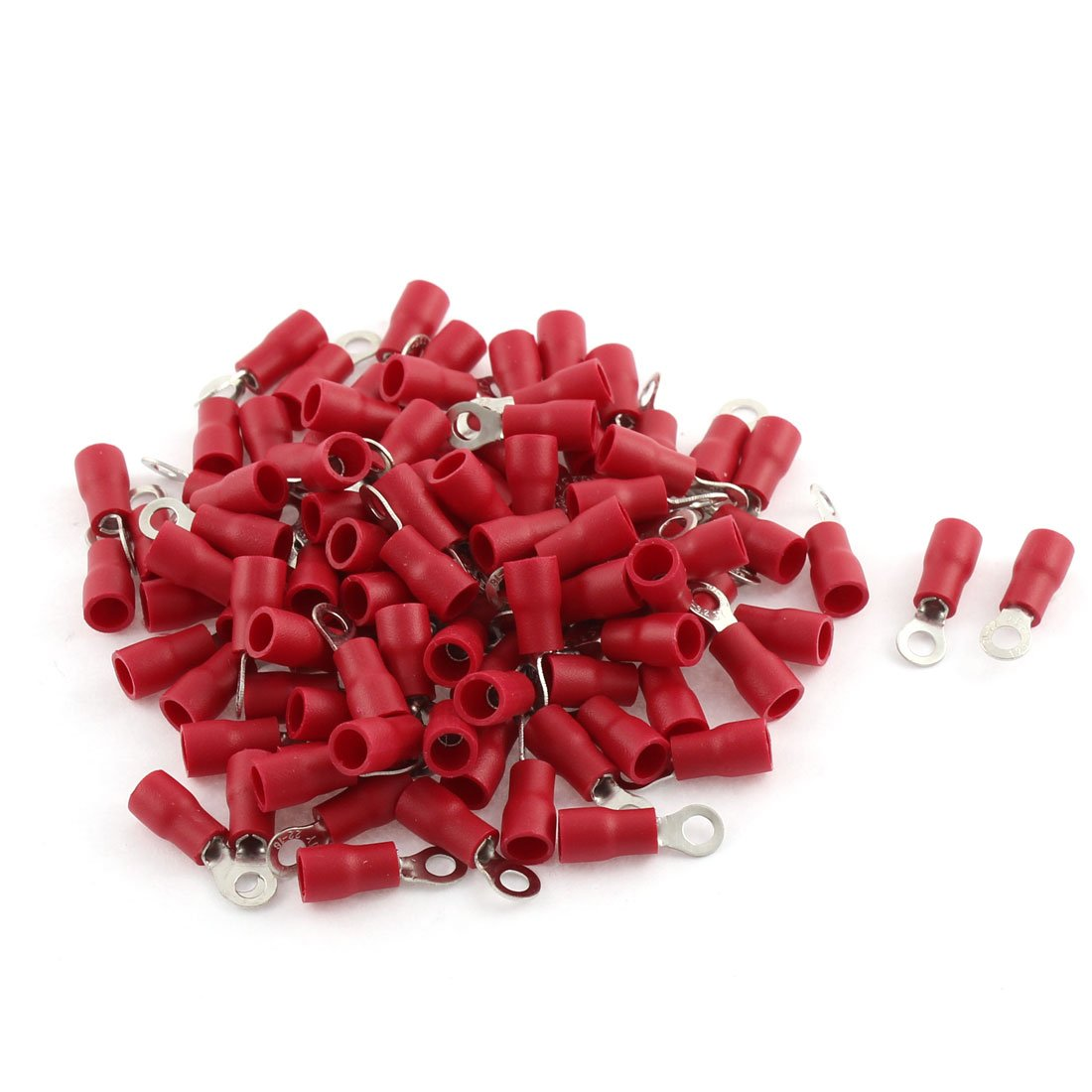 uxcell 100pcs Ring Tongue Pre Insulated Terminals Red for AWG 22-16 Cable