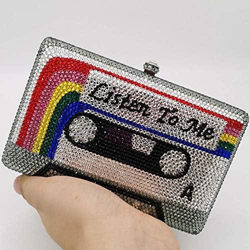 XLJJB Listen2Me Cassette Tape Clutch Femmes Cristal Sacs De Soirée De Mariage Partie De Diamant Boîte Minaudière Sac À Main Et Bourse Petite Embrayage Couleur 8