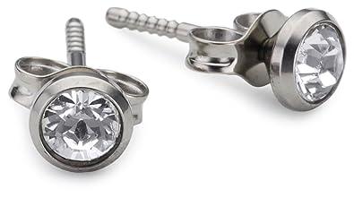 Pure Grey No. 11686 Earring Studs Titanium nfn5C