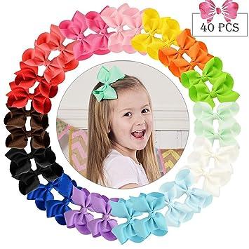 0627e1da9e57c 40pcs Hair Bows for Girls 4 quot  Big Boutique Bow Alligator Clips  Grosgrain Ribbon Hair Accessories