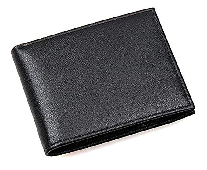 Ras Wallets - Cartera para hombre con ranuras y bolsillos para tarjetas y carnet de identidad, billetero de cuero de triple pliegue, color negro, ...