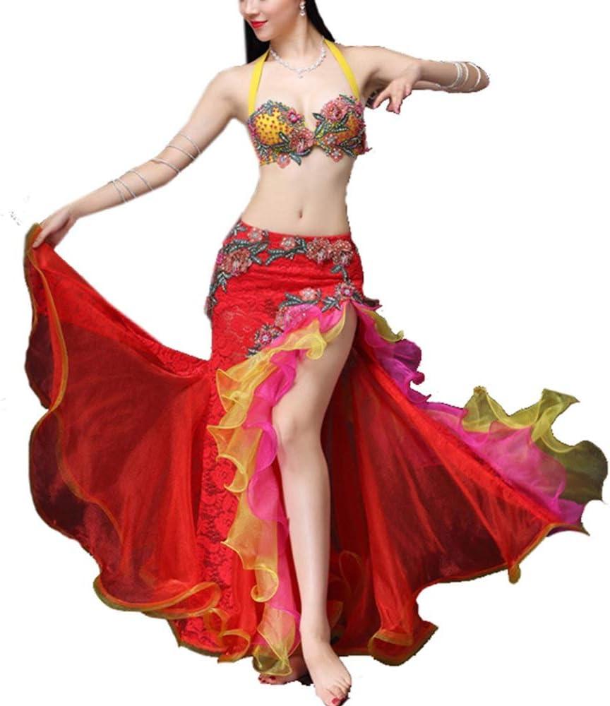 社交ダンス スカート 女性のためのベリーダンスの衣装ノースリーブの服ベリーダンスのブラジャーとベルトマキシダンスドレス(オーガンザ+レース) (色 : 赤, サイズ : L) 赤 Large
