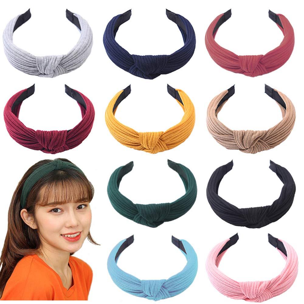 10Pcs de Pelo Anchas Diadema de Nudo Bandas de Pelo Para la Cabeza Turbantes para Mujer Diadema Para Mujer Chica Ni/ña Accesorio de Pelo 10 Colores Variados