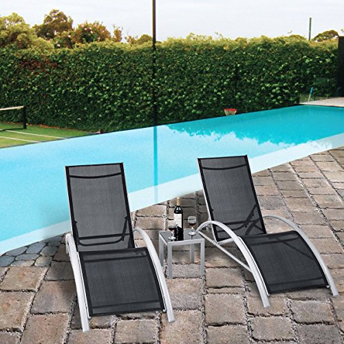 36' Lounge Seat (Giantex 3-Piece Chaise Lounge Set W/ 1 Small Table 2 Chairs Outdoor Patio Garden Furniture Adjustable Back)