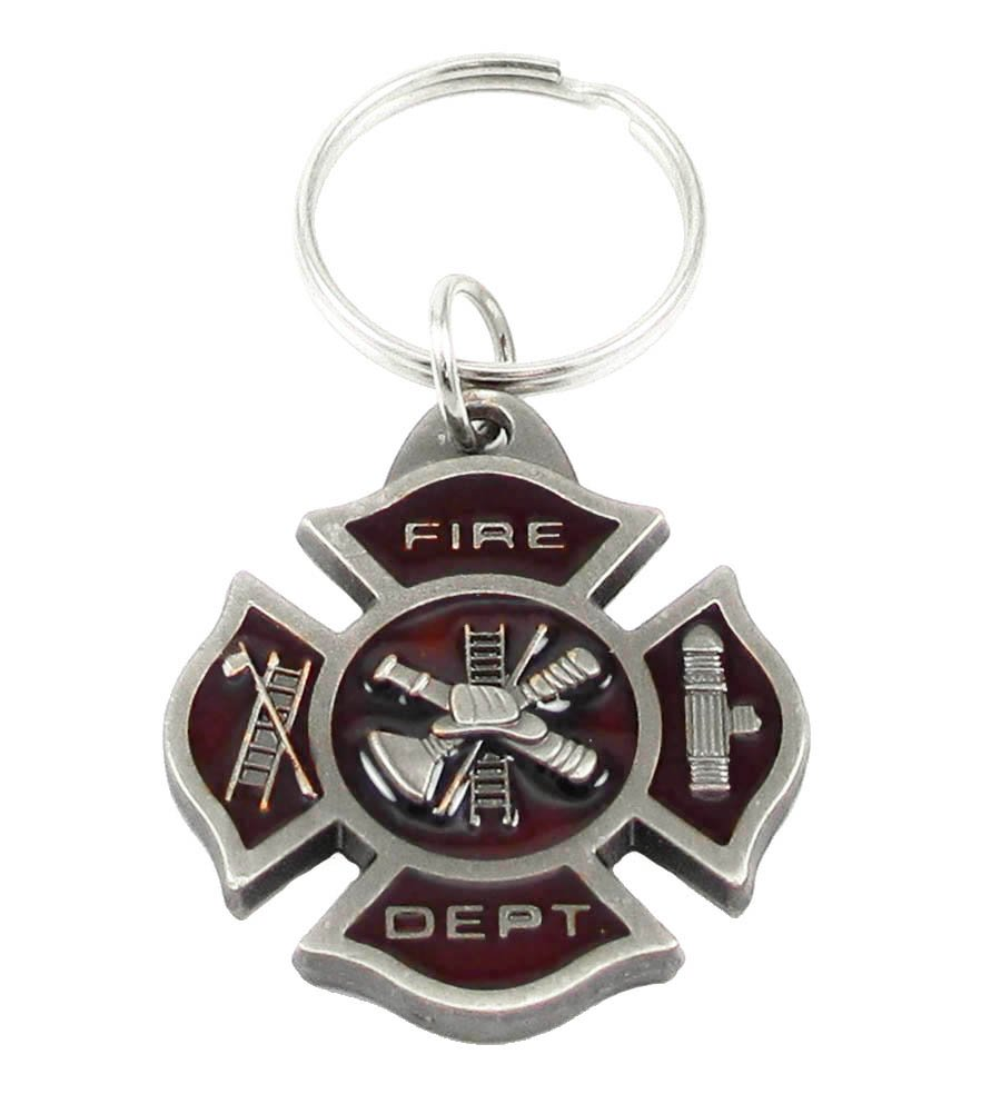Fire Department Maltese Cross Emblem Key Chain Siskiyou 4350399678