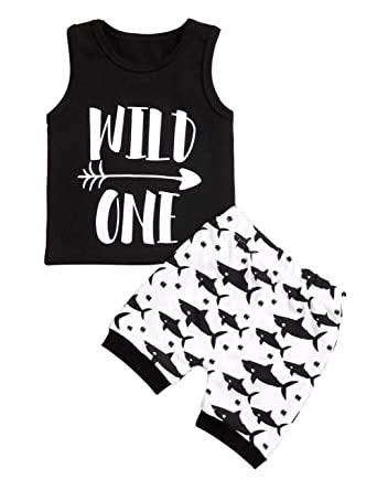 56df63da0b27 Amazon.com  Newborn Baby Clothes Boy Wild One Sleeveless Vest +Shark ...