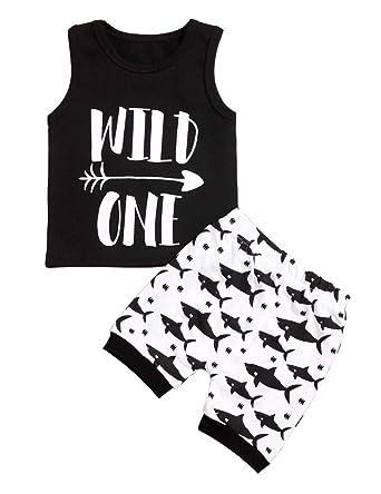 446b892a5 Amazon.com  Newborn Baby Clothes Boy Wild One Sleeveless Vest +Shark ...