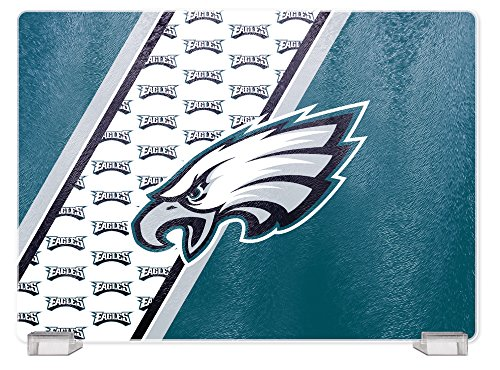 (NFL Philadelphia Eagles Tempered Glass Cutting Board with Display Stand)