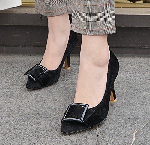 Buckle Pointed Charm Heel Court High Women's Carolbar Toe Black Shoes Elegant w6nqCXEY