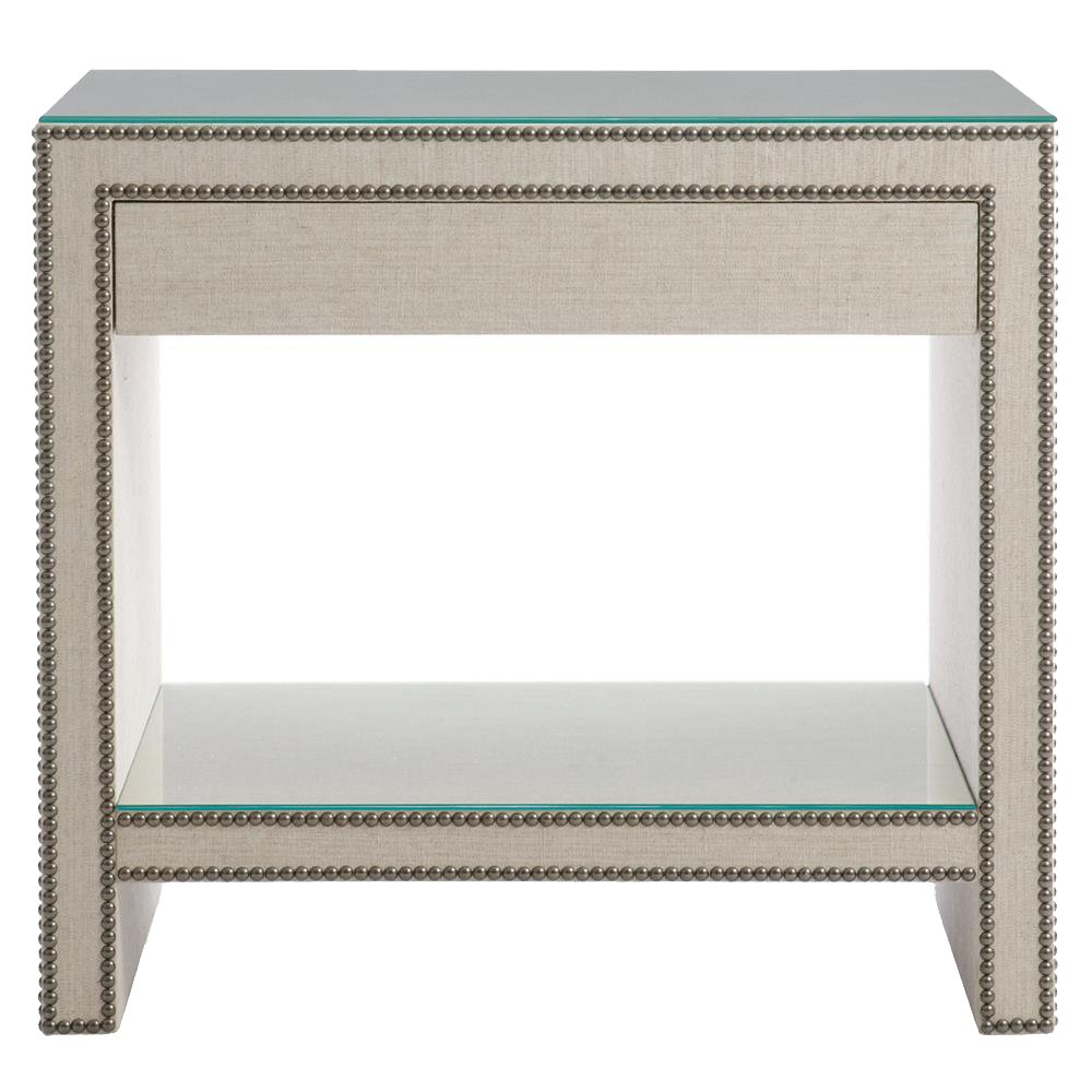 Amazon Abella Regency Beige Linen Silver Nailhead Nightstand