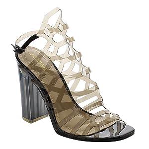 JACOBIES AF52 Women's Clear Lucite Slingback Peep Toe Heels Shoes, Color:BLACK, Size:8.5