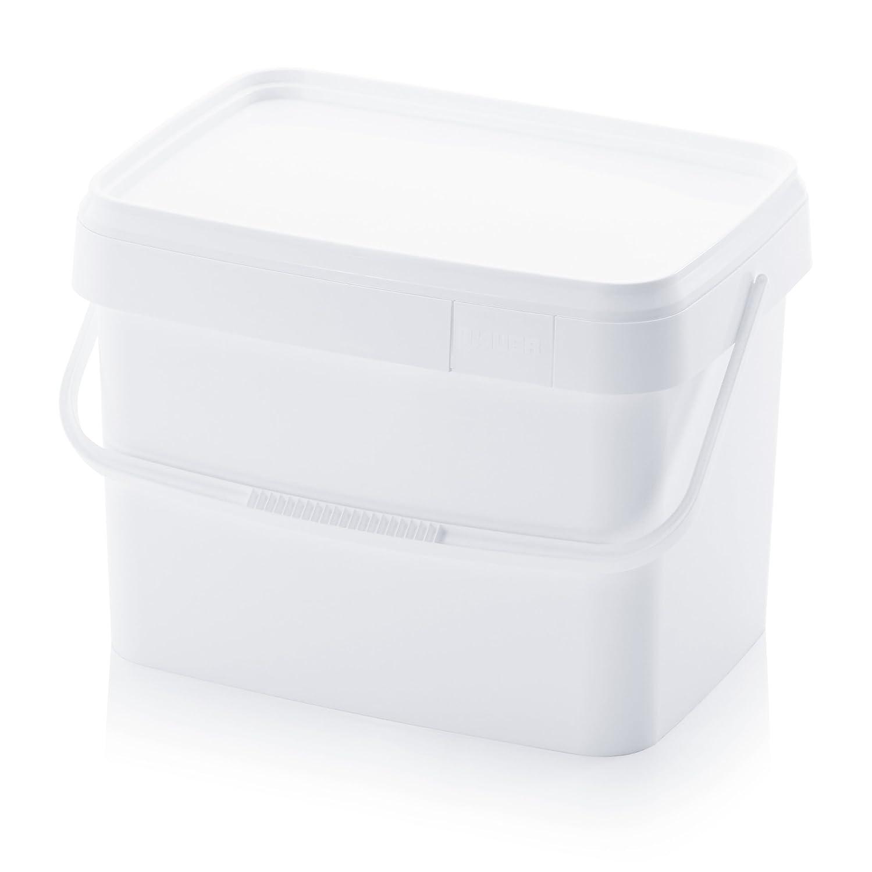 Seau en plastique 22/L rectangulaire recheckig Blanc vide 943/G PP idustrie Gastronomie Laboratoire empilable avec couvercle