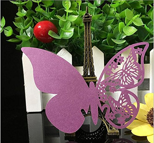 Freedi Hollow Butterfly Wine Glass Card Party Table Number Name Paper Place Cards Laser Cut DIY Paper Card for Wedding Decoration,50 Pcs (Purple)