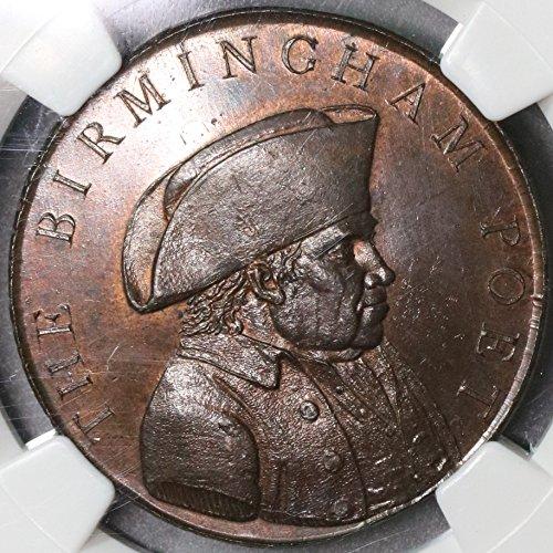 Conder Token - 1790 UK Great Britain Birmingham Poet Conder D&H 30 NGC POP 1/0 (17091604C) Penny Mint State NGC MS 65
