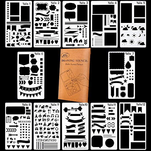 Graffiti Style Letters (Bullet Journal Stencils Plastic Planner Stencils Journal/Notebook/Diary/Scrapbook DIY Drawing Stencils 4x7 Inch, 12 Pieces)