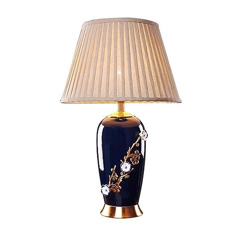 PIAOLING Lampada da tavolo scolpita in ceramica blu vintage cinese ...