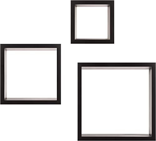 Pinnacle Frames and Accents Floating Square Wall Shelves Nested Cubes, Black, Set of 3, 9 by 9, 3