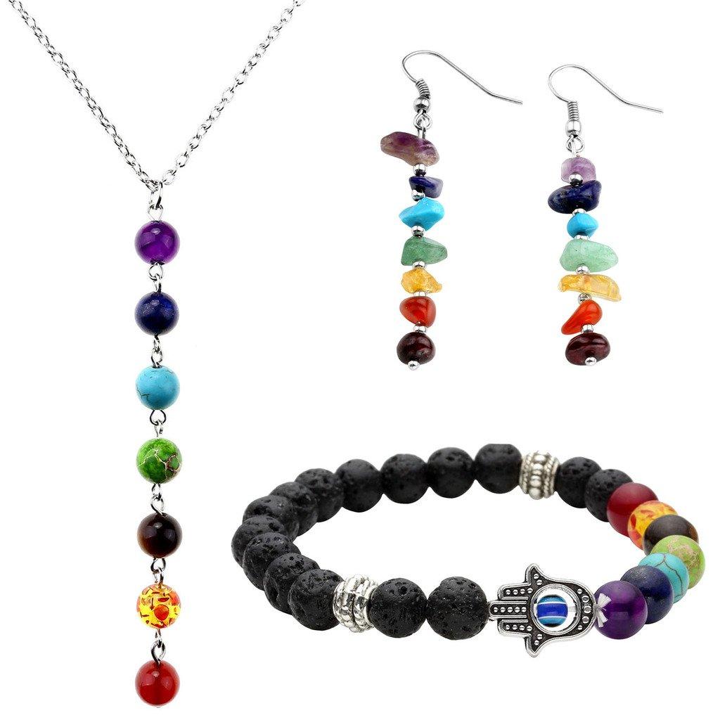 Top Plaza 7 Chakra Lava Rock Stone Beads Yoga Reiki Healing Energy Balancing Necklace Bracelets Earrings Jewelry Set(#4 Lava Rock Hamsa Hand)