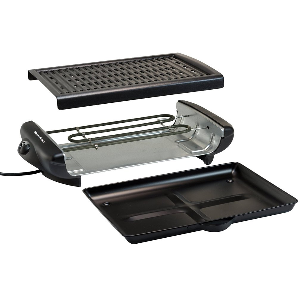 Grill A Electric Smokeless Indoor Barbecue Grill Classic Plate Nonstick Surface Contact Grill with Removable Plates