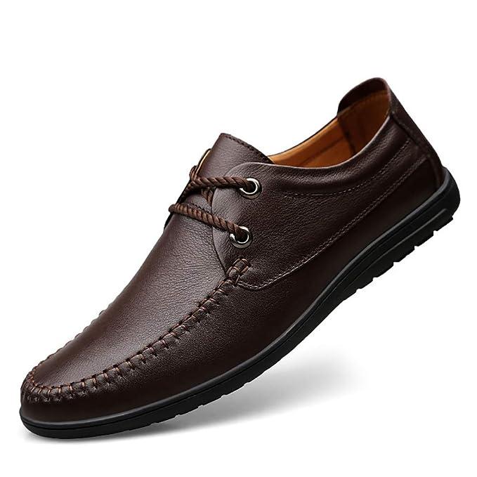 FHTD Mocasines Para Hombres Zapatos Con Cordones Bajos De Cuero Zapatos Casuales Confort Conducción Zapatos: Amazon.es: Ropa y accesorios