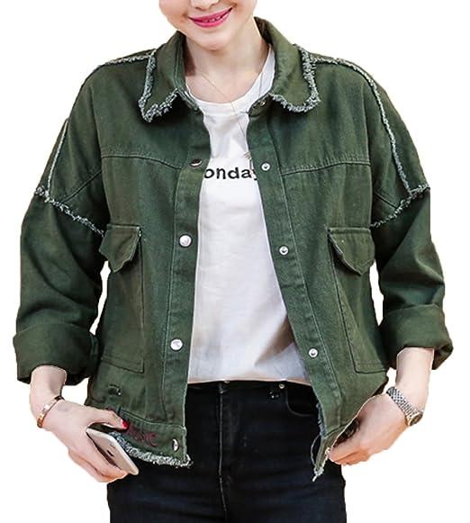 Veste en jean femme verte