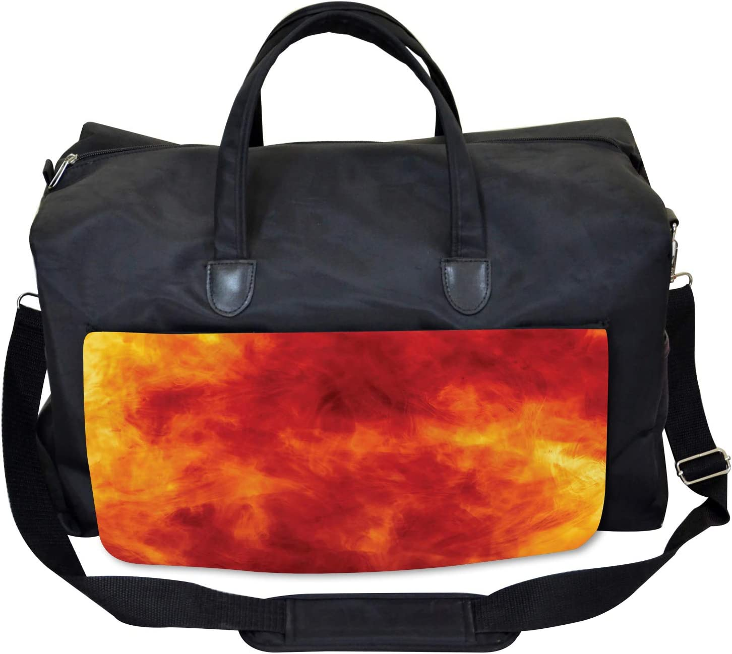 Fire and Flames Design Large Weekender Carry-on Ambesonne Orange Gym Bag