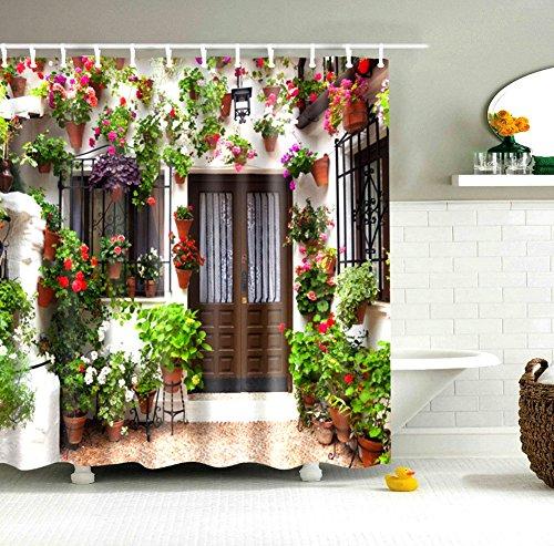 180X 180CM Spanish House Print Polyester Fabric Shower Curtain - 1