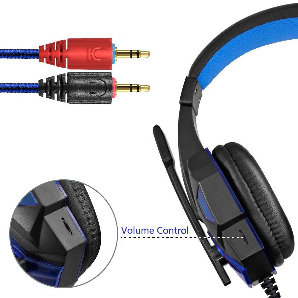 KanCai Cascos Auriculares Gaming con Micrófono Headset Auricular Gamer Juegos Jack 3,5mm Ultra-livianos Ajustable Estéreo Para PC Computadoras, ...