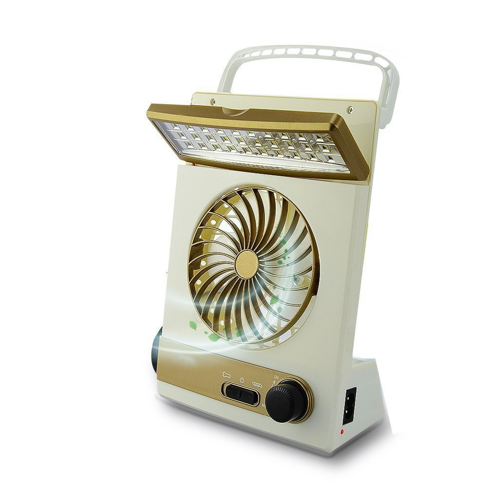 Meetneed 3 in 1 Multifunction Solar Fan Camping Fan, Portable Mini Cooling Fan,LED Table Fan for Home Office Travel Camping (gold)