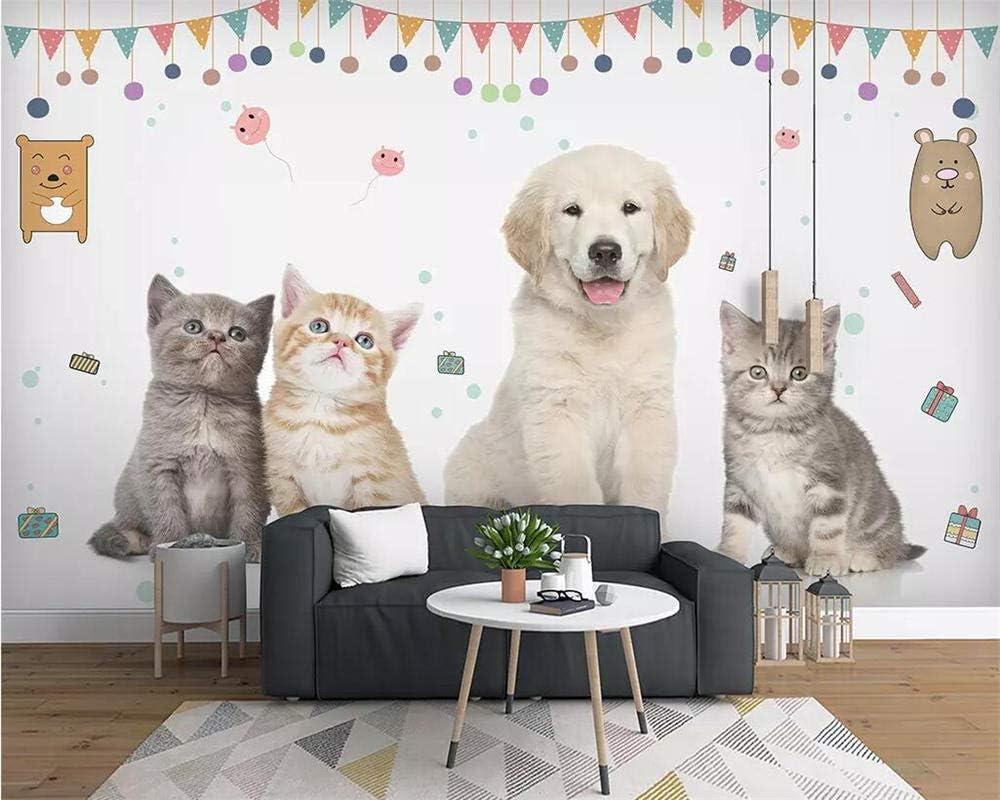 Zdbwjj Custom Wallpaper Hand Painted Watercolor Cute Cat Dog Animal Pet Children S Room Background Wall Mural 3d Wallpaper B Amazon Com