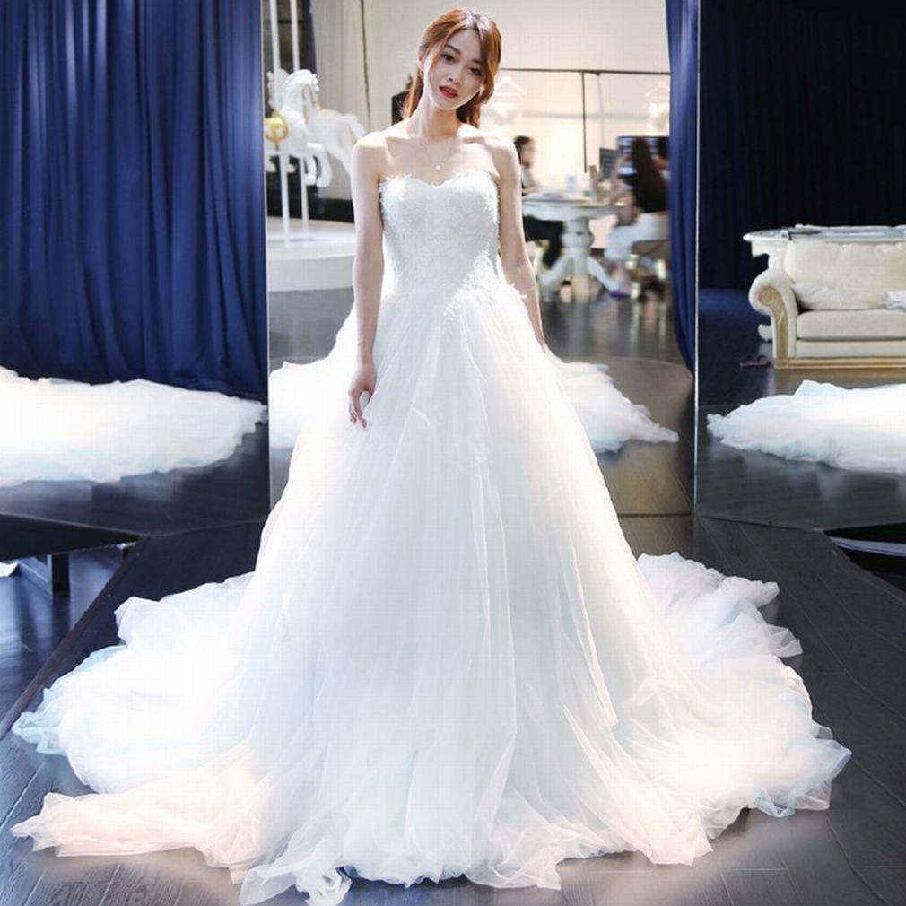 XP Hochzeit Prinzessin Bra Braut Hochzeit Lace Long Slim Slim Dress,B,M