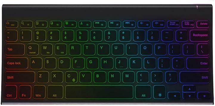Zmsdt Teclado retroiluminado Delgado Bluetooth de 7 Colores ...