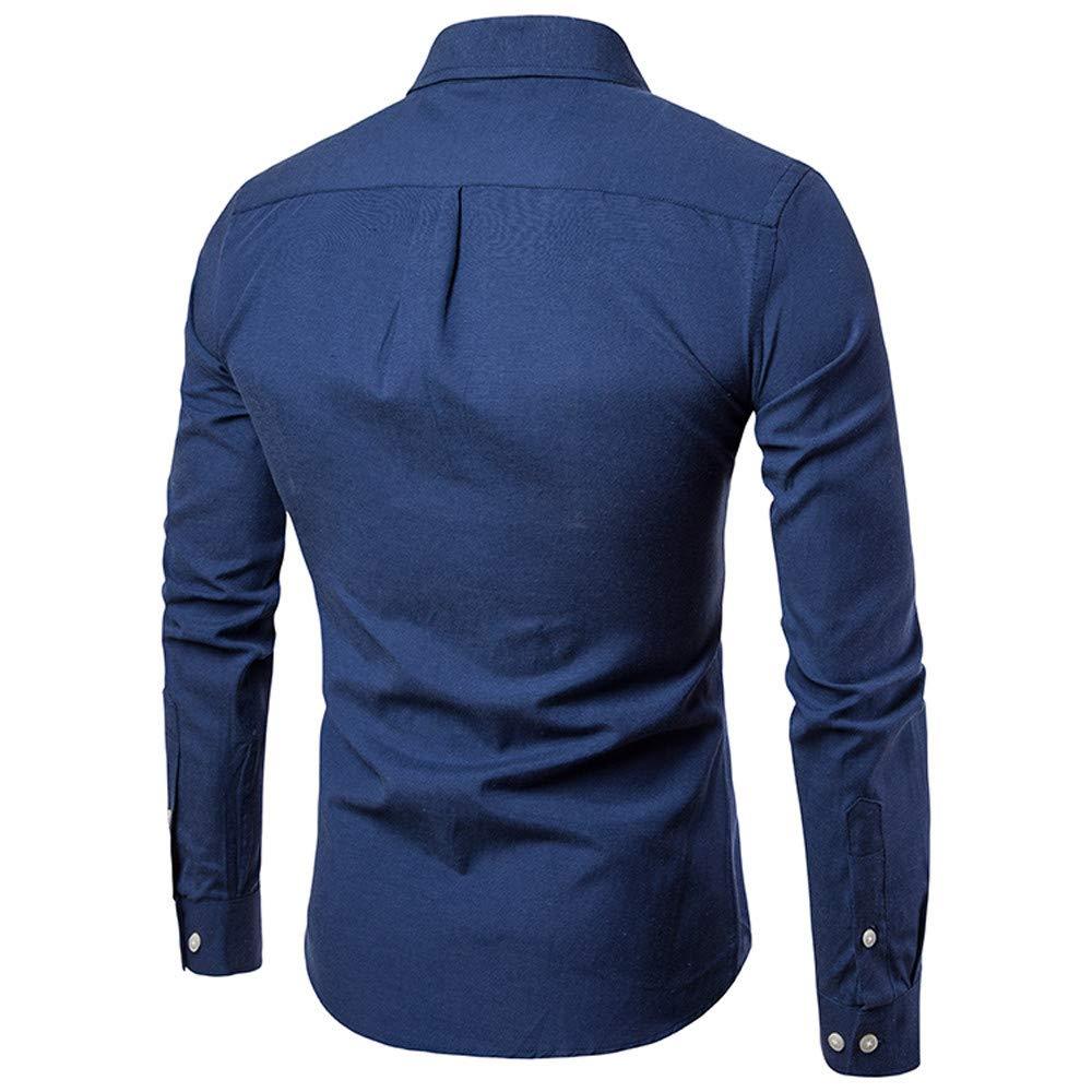 Blusa de Hombre by BaZhaHei, Camisas para Hombre del Manga Larga de Hombre Delgada Hombres del otoño Camisetas de la Camisa sólida Ocasional Cómodo y ...