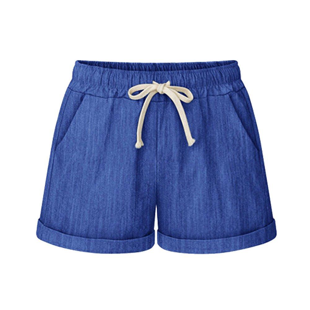 Women's Elastic Waist Cotton Linen Casual Beach Shorts with Drawstring Cobalt Plus Size Tag 7XL-US 14W-16W